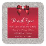 Elegant Ruby Red, Silver Glitter Wedding Square Sticker