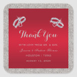 Elegant Ruby Red & Sparkly Silver Rings Wedding Square Sticker