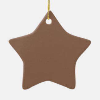 Elegant Russet Brown - Fashion Color Trending Double-Sided Star Ceramic Christmas Ornament