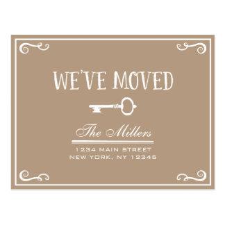 Elegant Rustic Beige Key Moving Announcement Postcard