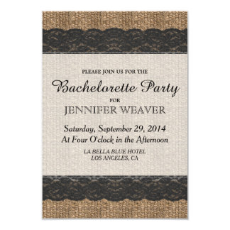 Elegant Rustic Black Lace and Jute Design Card