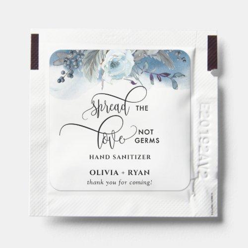 Elegant Rustic Blue Floral, Spread Love Not Germs Hand Sanitizer Packet