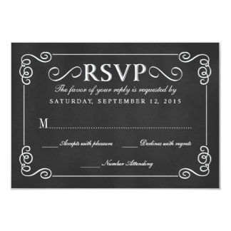 Elegant Rustic Chalkboard Wedding RSVP Personalized Announcements