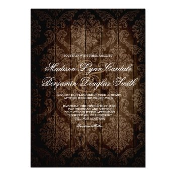 Elegant Rustic Country Damask Wedding Invitations