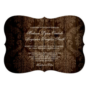 Elegant Rustic Country Damask Wedding Invitations