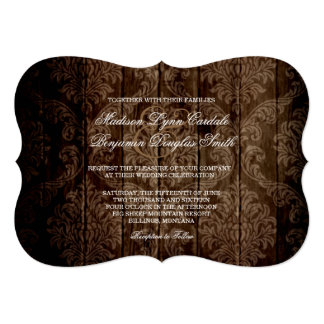 "Elegant Rustic Country Damask Wedding Invitations 5"" X 7"" Invitation Card"