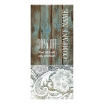 elegant rustic country white lace blue barn wood rack card