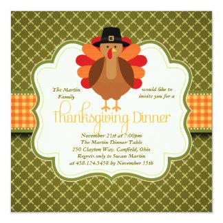Elegant Rustic Cute Turkey Thanksgiving Dinner 5.25x5.25 Square Paper Invitation Card