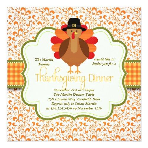 Elegant Rustic Cute Turkey Thanksgiving Dinner Invitation
