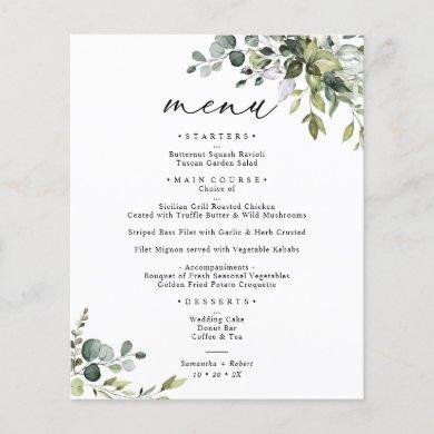 Elegant Rustic Eucalyptus Greenery Wedding Menu