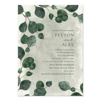 Elegant Rustic Eucalyptus Leaves Botanical Wedding Invitation