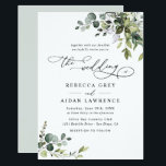 "Elegant Rustic Eucalyptus Leaves Greenery Wedding Invitation<br><div class=""desc"">This elegant collection features mixed watercolor greenery leaves paired with a classy serif & delicate sans font in black, with a monogram on the back. To make advanced changes, go to ""Click to customize further"" option under Personalize this template. Here, you can also change the color of the text: ""the"",...</div>"