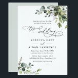 """Elegant Rustic Eucalyptus Leaves Greenery Wedding Invitation<br><div class=""""desc"""">This elegant collection features mixed watercolor greenery leaves paired with a classy serif & delicate sans font in black, with a monogram on the back. To make advanced changes, go to """"Click to customize further"""" option under Personalize this template. Here, you can also change the color of the text: """"the"""",...</div>"""
