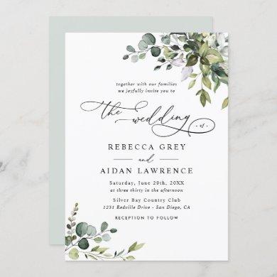 Elegant Rustic Eucalyptus Leaves Greenery Wedding Invitation
