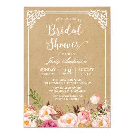 Elegant Rustic Floral Frame Kraft   Bridal Shower Card