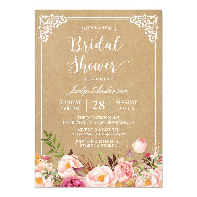 Elegant Rustic Floral Frame Kraft | Bridal Shower Card