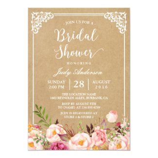 Elegant Rustic Floral Frame Kraft | Bridal Shower Invitation