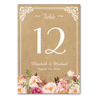 Elegant Rustic Floral Kraft Wedding Table Number Card