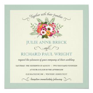 """Elegant Rustic Floral Wedding Invitations 5.25"""" Square Invitation Card"""