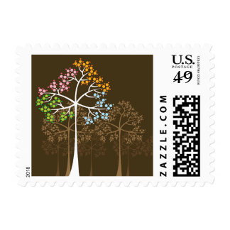 Elegant Rustic Four Seasons Trees General Postage