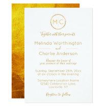 Elegant Rustic Gold Wreath Monogram Wedding Card
