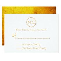 Elegant Rustic Gold Wreath Monogram Wedding RSVP Card