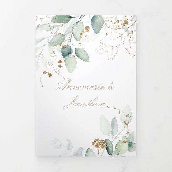 Elegant Rustic Green & Gold Eucalyptus Wedding Tri-Fold Card