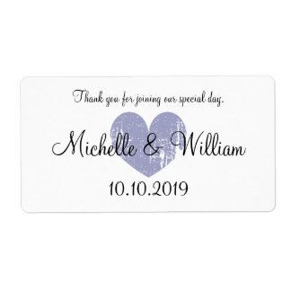 Elegant rustic heart wedding water bottle labels