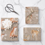"""Elegant Rustic Kraft Paper Snowy Winter Animals<br><div class=""""desc"""">Kraft Christmas wrapping paper for the holidays. Give your gifts a rustic kraft look that features winter themes like forest woodlands,  winter animals,  birds,  spruce trees,  holly,  berries and winter foliage,  all painted in beautiful watercolors.</div>"""