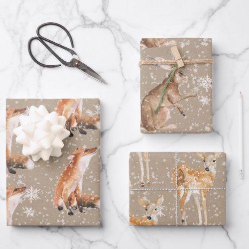 Elegant Rustic Kraft Paper Snowy Winter Animals