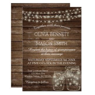 Elegant Rustic Mason Jar Lights Wedding Card