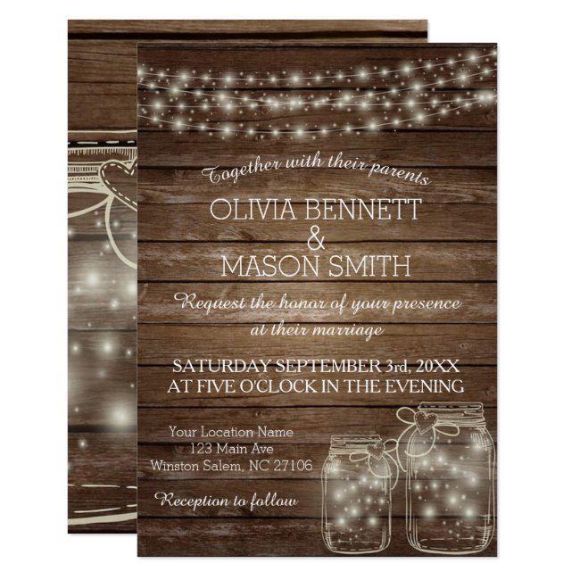 Elegant Rustic Mason Jar Lights Wedding Invitation