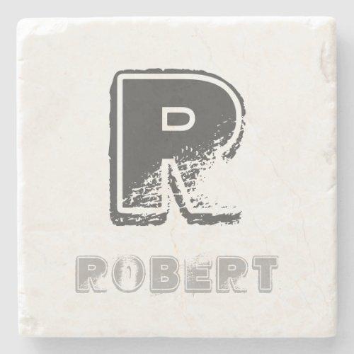 Elegant Rustic Monogram Template Stylish Design Stone Coaster
