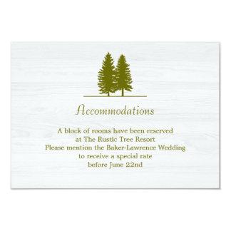 Elegant Rustic Pine Trees on White Wood Background Card