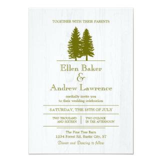 Elegant Rustic Pine Trees on White Wood Background 5x7 Paper Invitation Card
