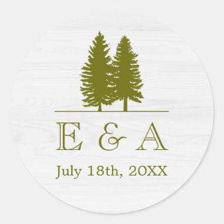 Elegant Rustic Pine Trees on White Wood Background Classic Round Sticker