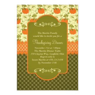 Elegant Rustic Pumpkins Thanksgiving Dinner 5x7 Paper Invitation Card
