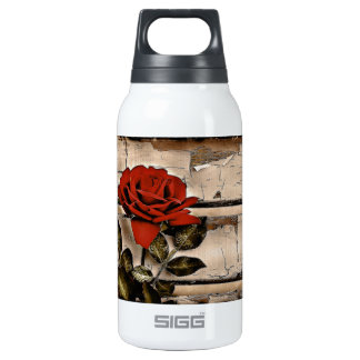 Elegant Rustic Red Rose on fence board background Insulated Water Bottle