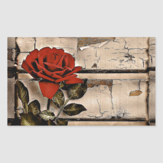 Elegant Rustic Red Rose on fence board background Rectangular Stickers