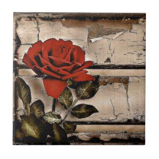 Elegant Rustic Red Rose on fence board background Tile