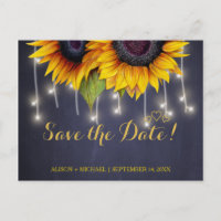 Elegant rustic sunflower fall save date wedding announcement postcard