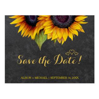 Elegant rustic sunflower fall save date wedding postcard