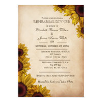 Elegant Rustic Sunflowers rehearsal dinner invites