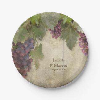 Elegant Rustic Vineyard Winery Fall Party Decor Paper Plate