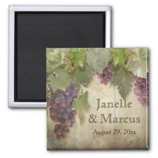 Elegant Rustic Vineyard Winery Fall Save the Date 2 Inch Square Magnet