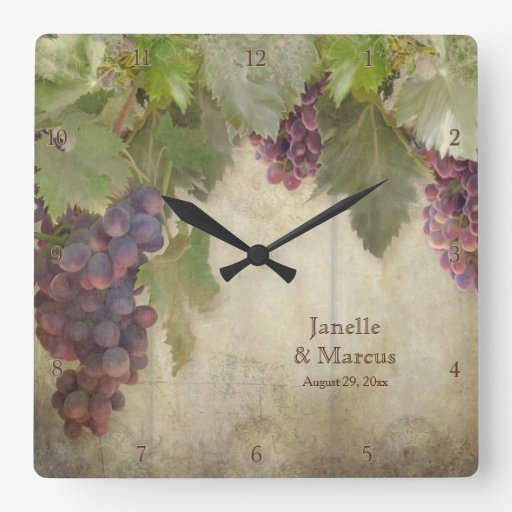 Rustic Vineyard Winery Fall Wedding Gift Square Wall Clock