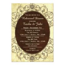 Elegant Rustic Vintage Rehearsal Dinner Invitation