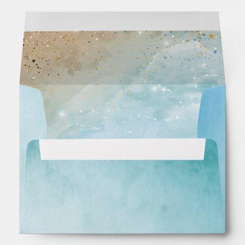 Elegant Rustic Watercolor Beach Return Address Envelope