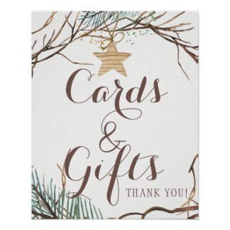 Elegant rustic winter pine cards and wedding sign