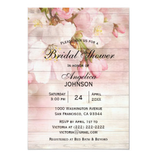 Elegant Rustic Wood Cherry Blossom Bridal Shower Card